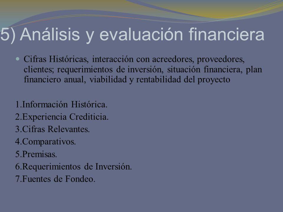 5) Análisis y evaluación financiera Cifras Históricas, interacción con acreedores, proveedores, clientes; requerimientos de inversión, situación finan