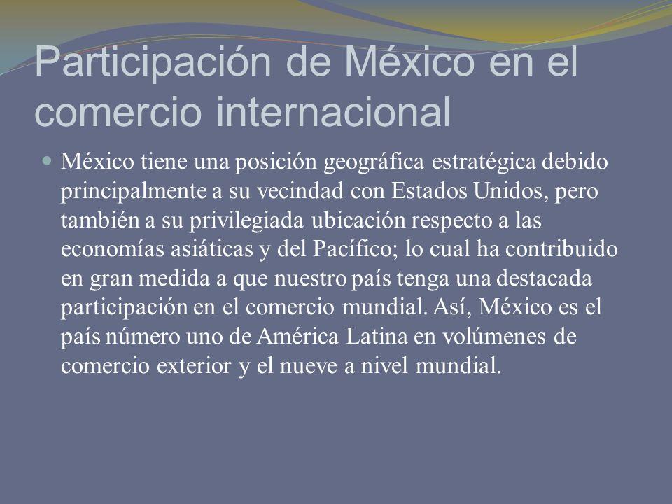 Participación de México en el comercio internacional México tiene una posición geográfica estratégica debido principalmente a su vecindad con Estados