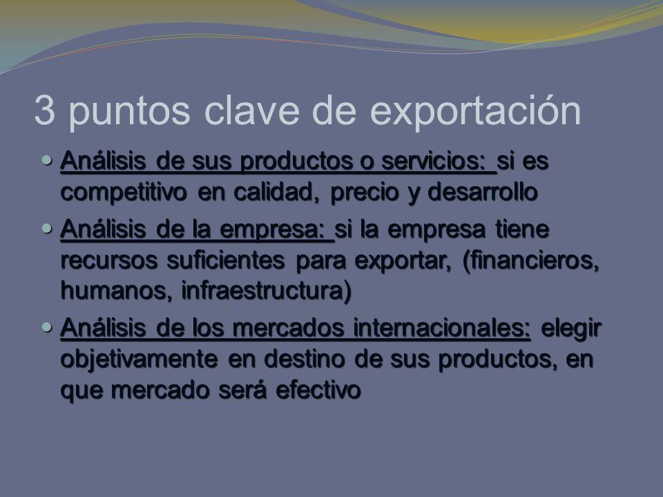 3 puntos clave de exportación Análisis de sus productos o servicios: si es competitivo en calidad, precio y desarrollo Análisis de sus productos o ser