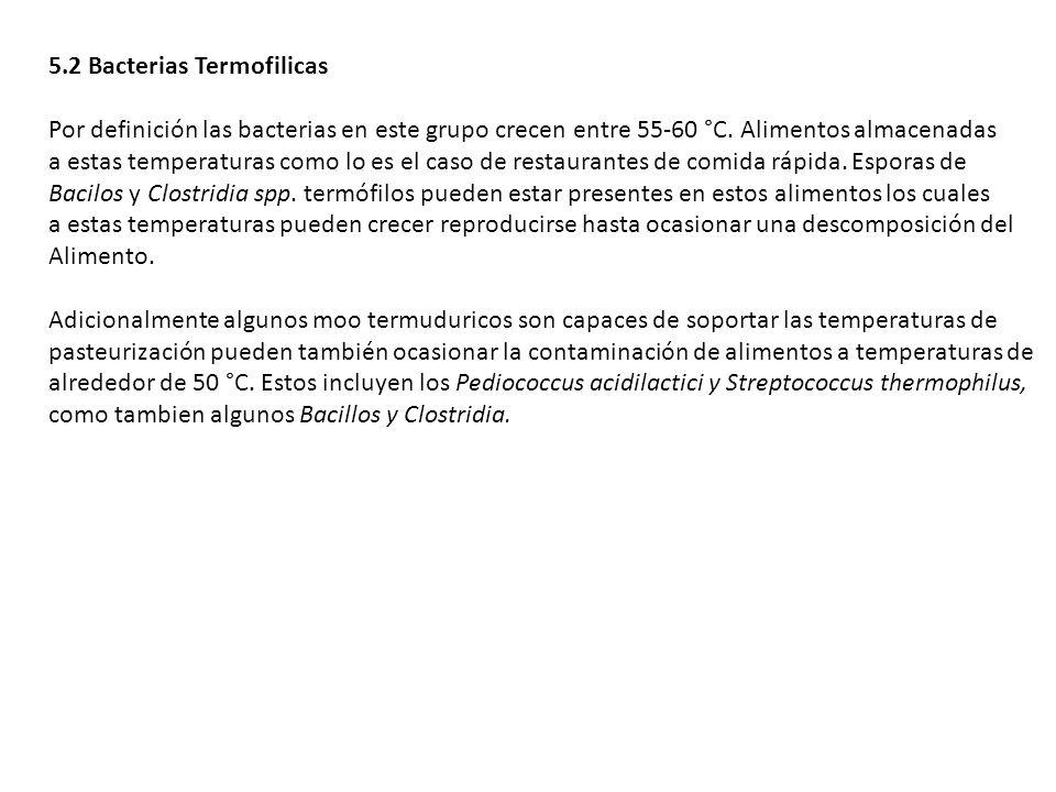 5.2 Bacterias Termofilicas Por definición las bacterias en este grupo crecen entre 55-60 °C. Alimentos almacenadas a estas temperaturas como lo es el