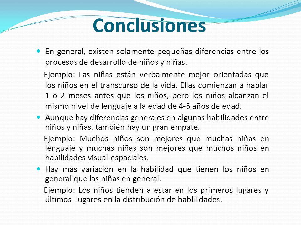 Conclusiones En general, existen solamente pequeñas diferencias entre los procesos de desarrollo de niños y niñas. Ejemplo: Las niñas están verbalment