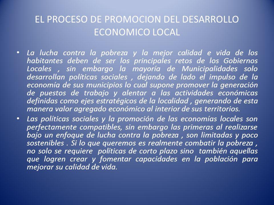 EL PROCESO DE PROMOCION DEL DESARROLLO ECONOMICO LOCAL La lucha contra la pobreza y la mejor calidad e vida de los habitantes deben de ser los princip