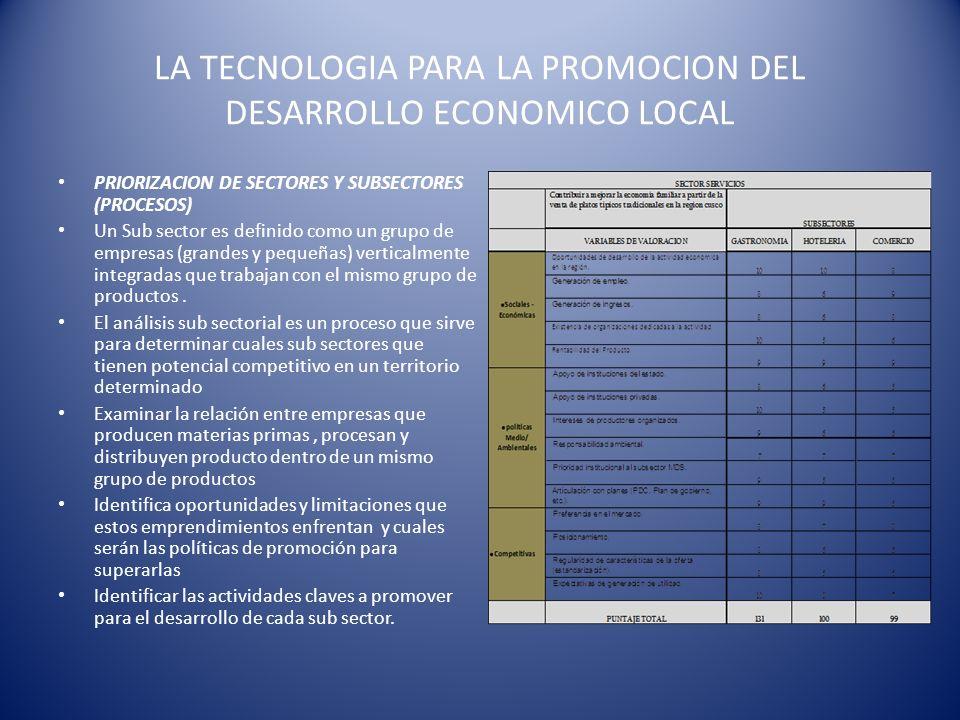 LA TECNOLOGIA PARA LA PROMOCION DEL DESARROLLO ECONOMICO LOCAL PRIORIZACION DE SECTORES Y SUBSECTORES (PROCESOS) Un Sub sector es definido como un gru