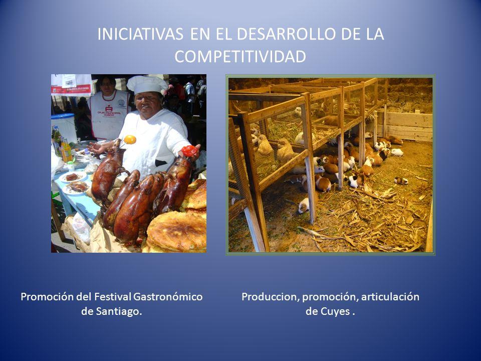 INICIATIVAS EN EL DESARROLLO DE LA COMPETITIVIDAD Promoción del Festival Gastronómico de Santiago. Produccion, promoción, articulación de Cuyes.