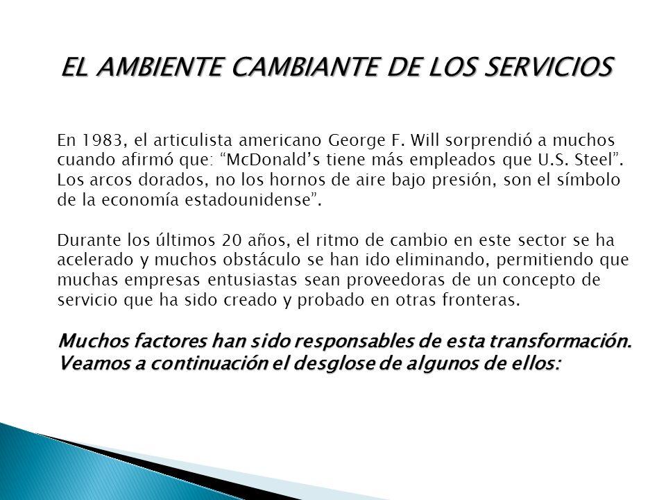 En 1983, el articulista americano George F. Will sorprendió a muchos cuando afirmó que: McDonalds tiene más empleados que U.S. Steel. Los arcos dorado