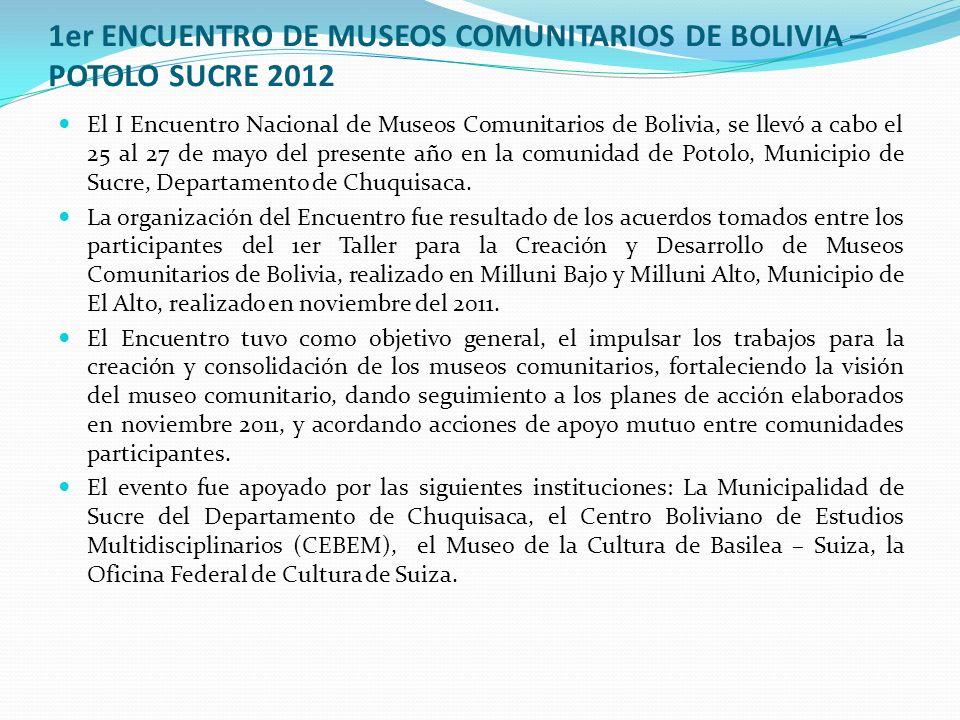1er ENCUENTRO DE MUSEOS COMUNITARIOS DE BOLIVIA – POTOLO SUCRE 2012 El I Encuentro Nacional de Museos Comunitarios de Bolivia, se llevó a cabo el 25 al 27 de mayo del presente año en la comunidad de Potolo, Municipio de Sucre, Departamento de Chuquisaca.
