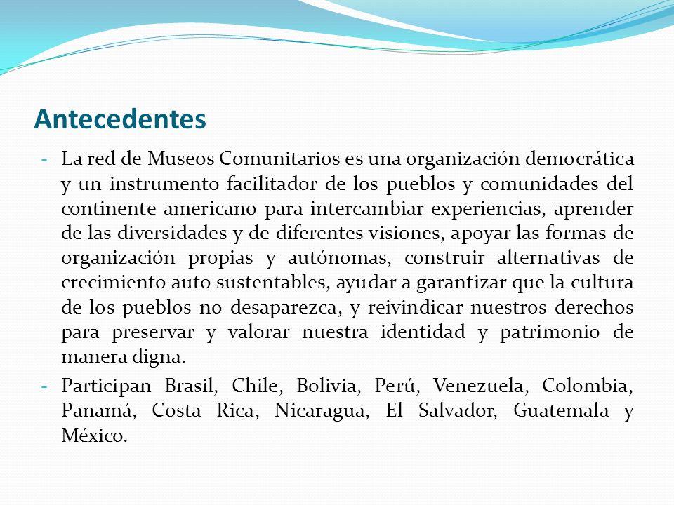 Antecedentes - La red de Museos Comunitarios es una organización democrática y un instrumento facilitador de los pueblos y comunidades del continente