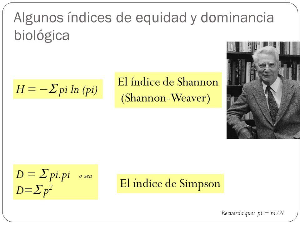 Algunos índices de equidad y dominancia biológica H = pi ln (pi) D = pi.pi o sea D= p 2 El índice de Shannon (Shannon-Weaver) El índice de Simpson Recuerda que: pi = ni/N