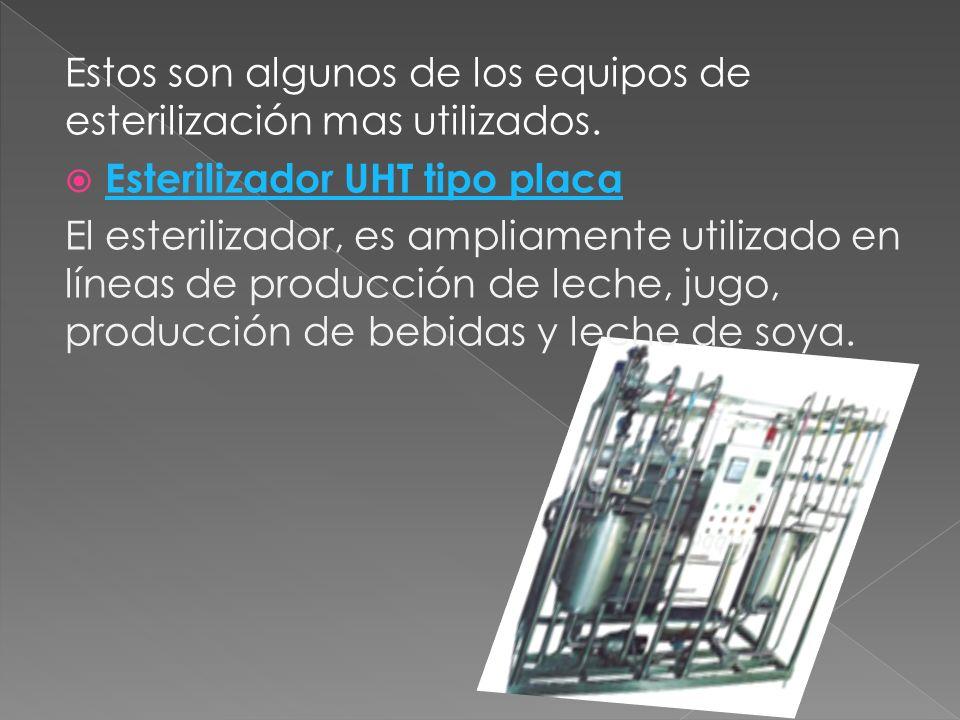 Estos son algunos de los equipos de esterilización mas utilizados. Esterilizador UHT tipo placa El esterilizador, es ampliamente utilizado en líneas d