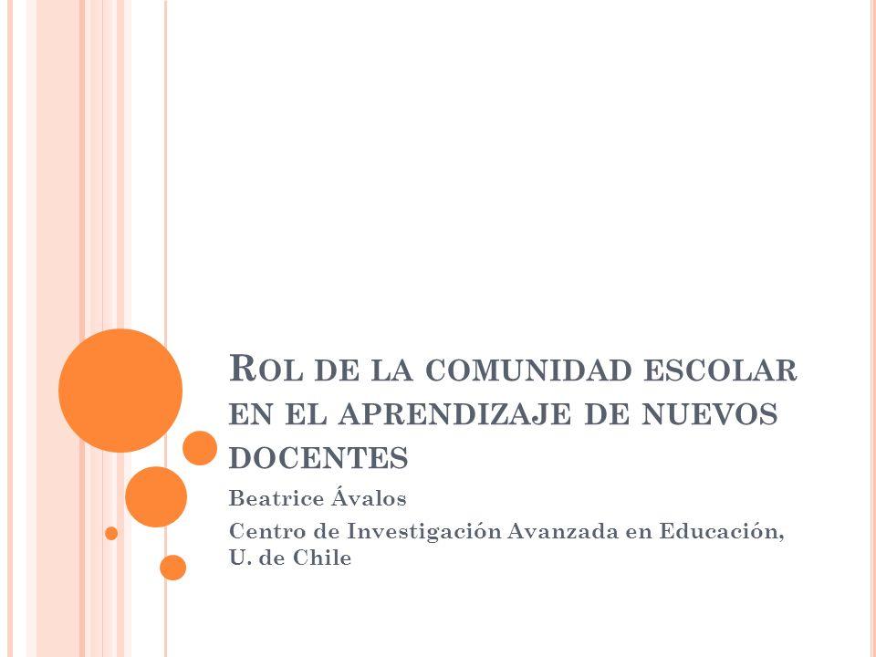 R OL DE LA COMUNIDAD ESCOLAR EN EL APRENDIZAJE DE NUEVOS DOCENTES Beatrice Ávalos Centro de Investigación Avanzada en Educación, U.