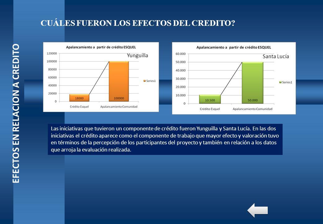 EFECTOS EN RELACION A CREDITO CUÁLES FUERON LOS EFECTOS DEL CREDITO? Las iniciativas que tuvieron un componente de crédito fueron Yunguilla y Santa Lu