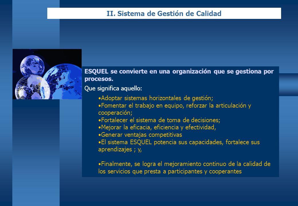 II. Sistema de Gestión de Calidad ESQUEL se convierte en una organización que se gestiona por procesos. Que significa aquello: Adoptar sistemas horizo