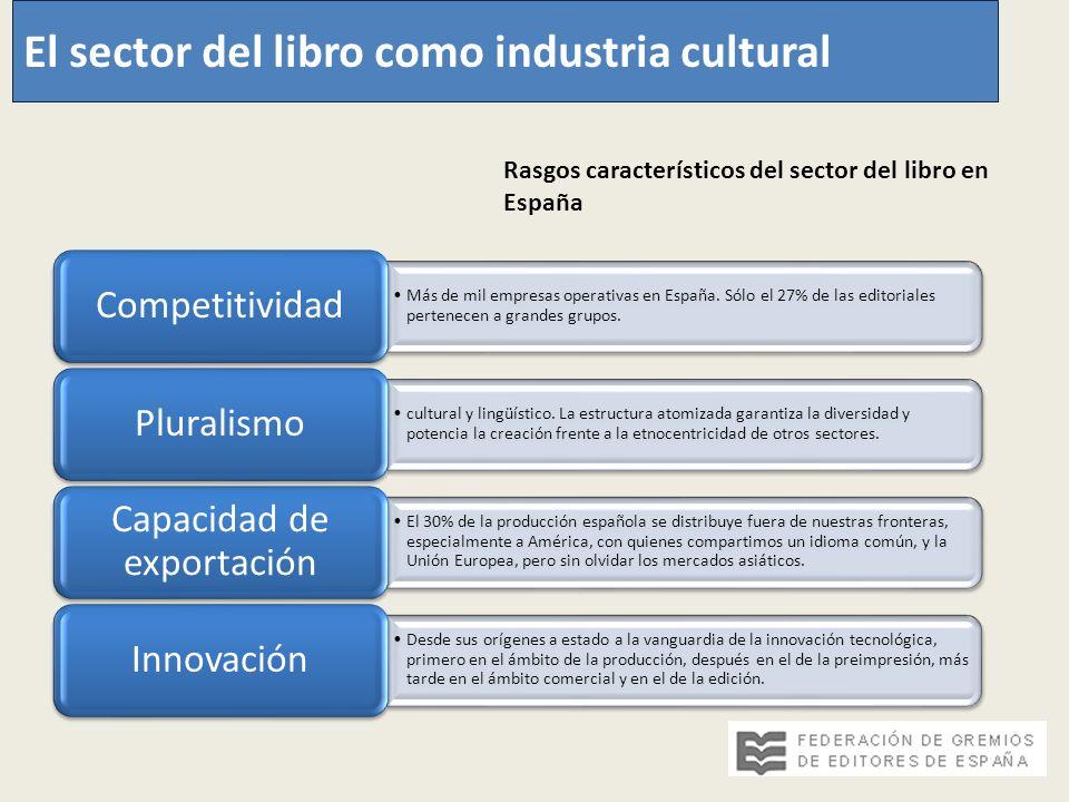 Más de mil empresas operativas en España. Sólo el 27% de las editoriales pertenecen a grandes grupos. Competitividad cultural y lingüístico. La estruc