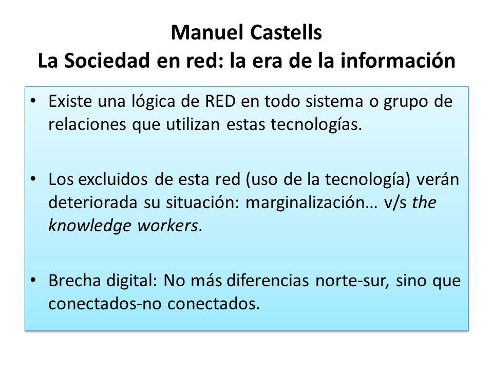 Manuel Castells La Sociedad en red: la era de la información Existe una lógica de RED en todo sistema o grupo de relaciones que utilizan estas tecnolo
