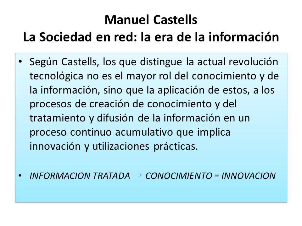 Manuel Castells La Sociedad en red: la era de la información Según Castells, los que distingue la actual revolución tecnológica no es el mayor rol del