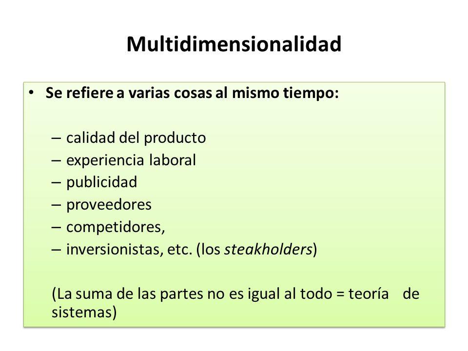 Multidimensionalidad Se refiere a varias cosas al mismo tiempo: – calidad del producto – experiencia laboral – publicidad – proveedores – competidores