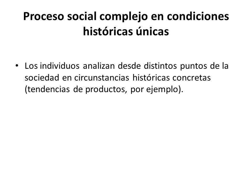 Proceso social complejo en condiciones históricas únicas Los individuos analizan desde distintos puntos de la sociedad en circunstancias históricas co