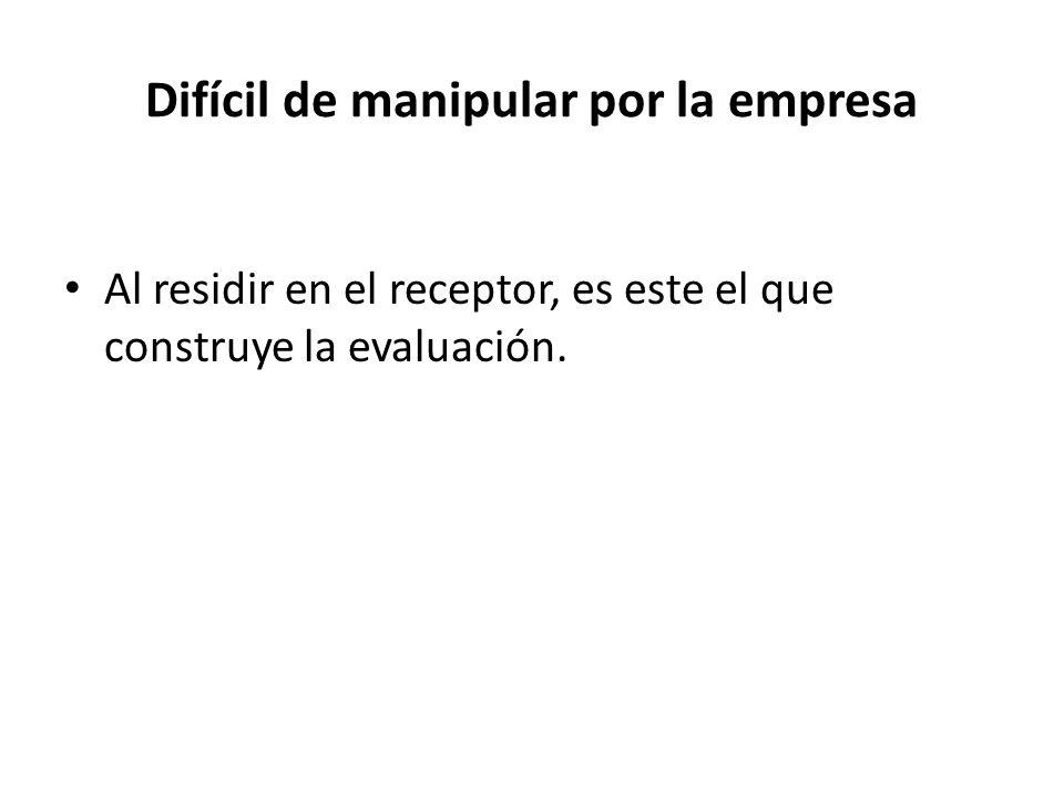 Difícil de manipular por la empresa Al residir en el receptor, es este el que construye la evaluación.