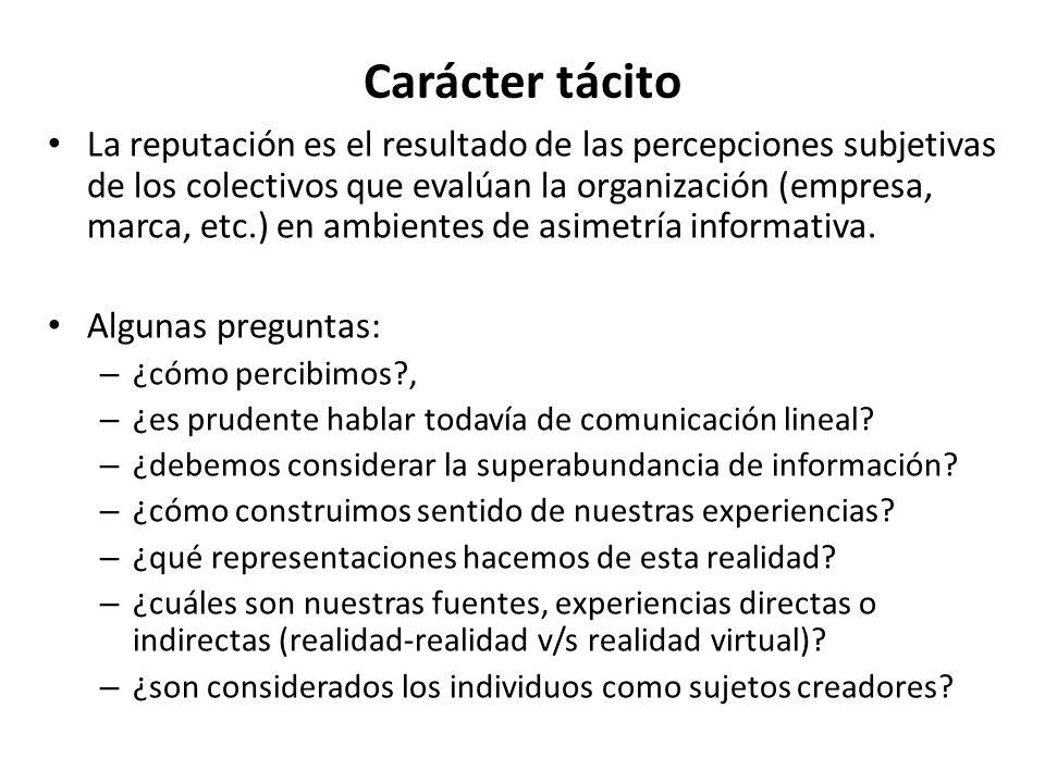 Carácter tácito La reputación es el resultado de las percepciones subjetivas de los colectivos que evalúan la organización (empresa, marca, etc.) en a