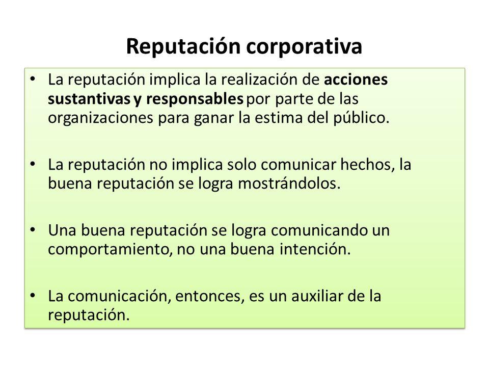 Reputación corporativa La reputación implica la realización de acciones sustantivas y responsables por parte de las organizaciones para ganar la estim