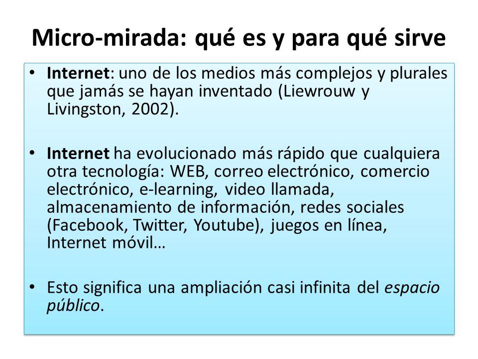 Micro-mirada: qué es y para qué sirve Internet: uno de los medios más complejos y plurales que jamás se hayan inventado (Liewrouw y Livingston, 2002).
