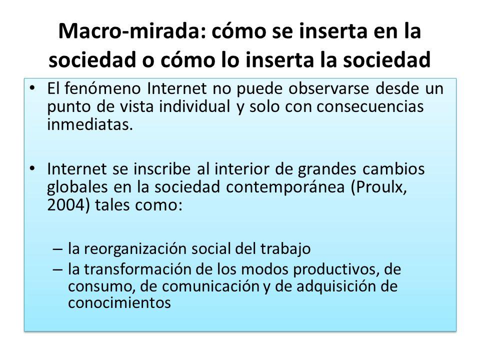 Macro-mirada: cómo se inserta en la sociedad o cómo lo inserta la sociedad El fenómeno Internet no puede observarse desde un punto de vista individual