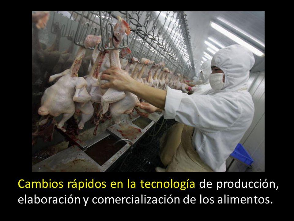Cambios rápidos en la tecnología de producción, elaboración y comercialización de los alimentos.