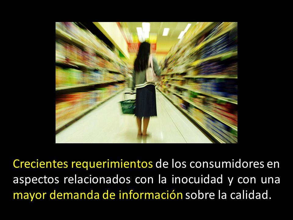 Crecientes requerimientos de los consumidores en aspectos relacionados con la inocuidad y con una mayor demanda de información sobre la calidad.
