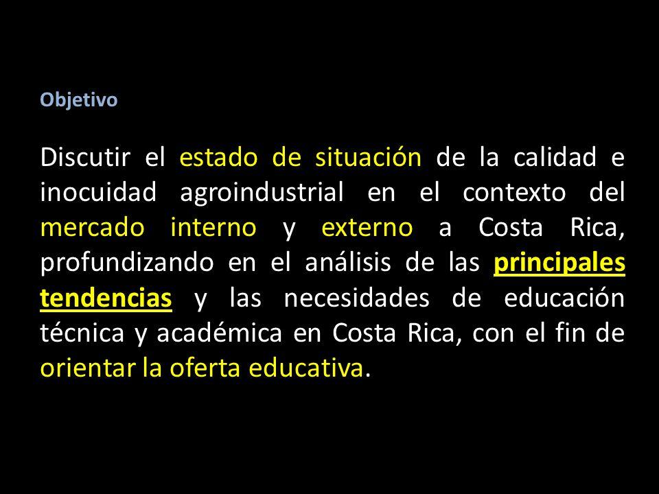Objetivo Discutir el estado de situación de la calidad e inocuidad agroindustrial en el contexto del mercado interno y externo a Costa Rica, profundizando en el análisis de las principales tendencias y las necesidades de educación técnica y académica en Costa Rica, con el fin de orientar la oferta educativa.