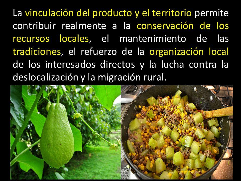 La vinculación del producto y el territorio permite contribuir realmente a la conservación de los recursos locales, el mantenimiento de las tradiciones, el refuerzo de la organización local de los interesados directos y la lucha contra la deslocalización y la migración rural.