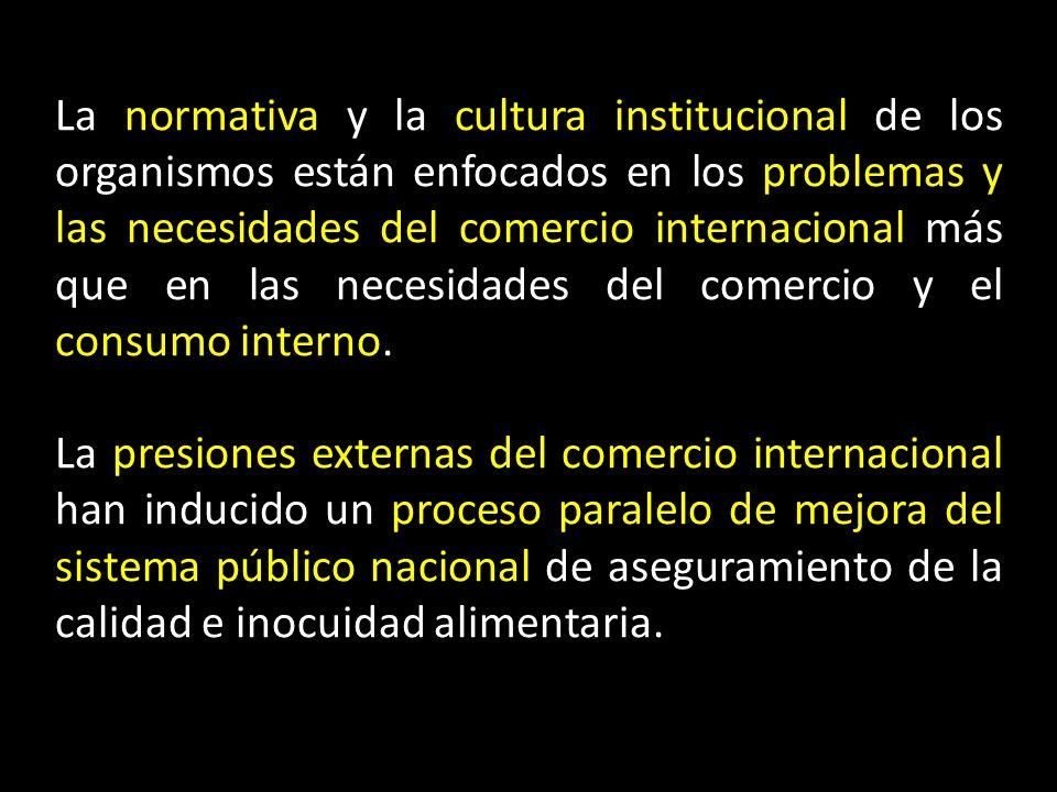La normativa y la cultura institucional de los organismos están enfocados en los problemas y las necesidades del comercio internacional más que en las necesidades del comercio y el consumo interno.