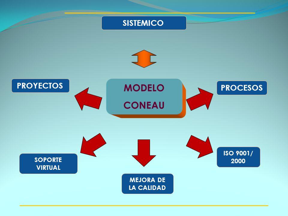 PROCESOS SOPORTE VIRTUAL MODELO CONEAU SISTEMICO MEJORA DE LA CALIDAD PROYECTOS ISO 9001/ 2000