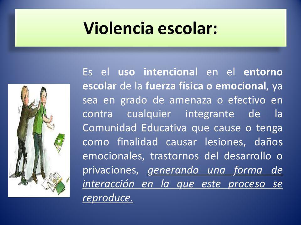 Violencia escolar: Es el uso intencional en el entorno escolar de la fuerza física o emocional, ya sea en grado de amenaza o efectivo en contra cualqu