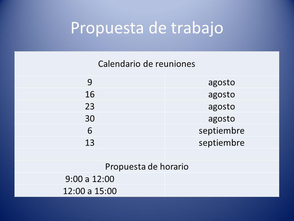 Propuesta de trabajo Calendario de reuniones 9agosto 16agosto 23agosto 30agosto 6septiembre 13septiembre Propuesta de horario 9:00 a 12:00 12:00 a 15: