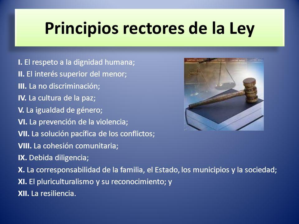 Principios rectores de la Ley I. El respeto a la dignidad humana; II. El interés superior del menor; III. La no discriminación; IV. La cultura de la p