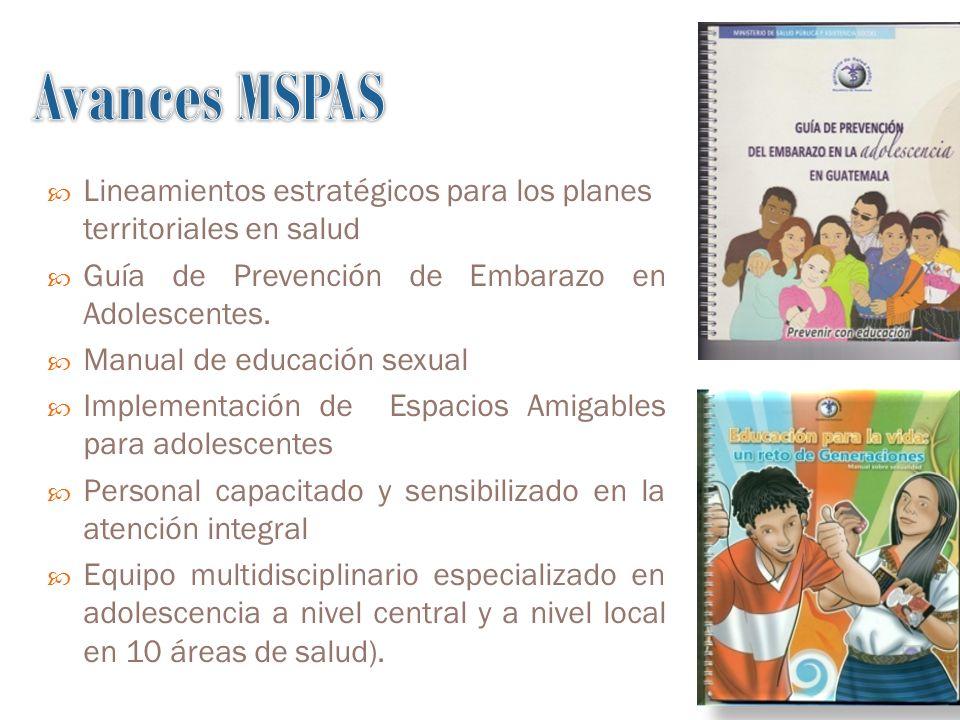 Lineamientos estratégicos para los planes territoriales en salud Guía de Prevención de Embarazo en Adolescentes.