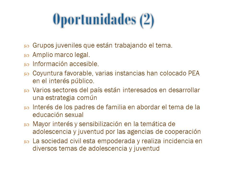 Grupos juveniles que están trabajando el tema.Amplio marco legal.