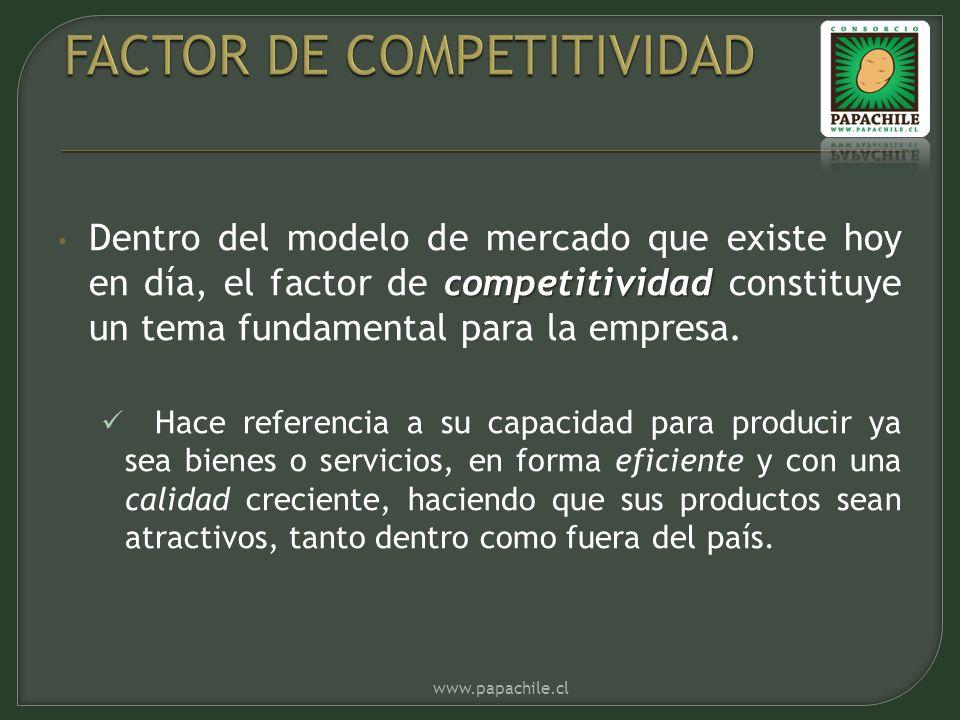 competitividad Dentro del modelo de mercado que existe hoy en día, el factor de competitividad constituye un tema fundamental para la empresa. Hace re