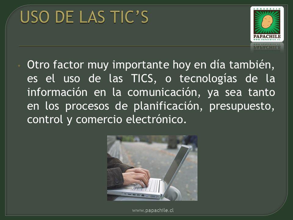 Otro factor muy importante hoy en día también, es el uso de las TICS, o tecnologías de la información en la comunicación, ya sea tanto en los procesos de planificación, presupuesto, control y comercio electrónico.