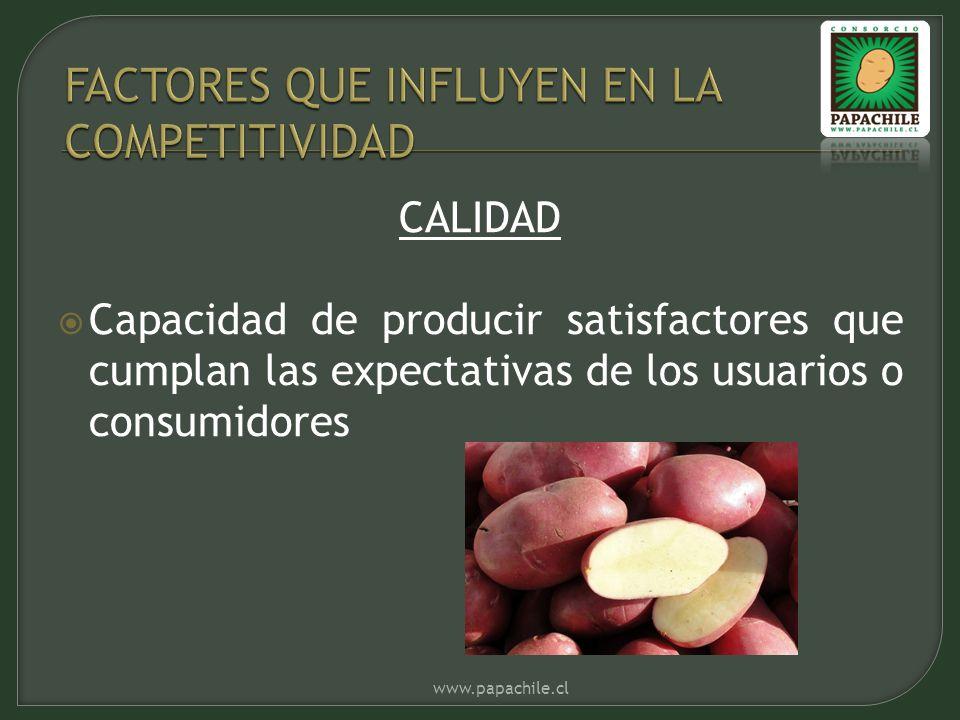 CALIDAD Capacidad de producir satisfactores que cumplan las expectativas de los usuarios o consumidores