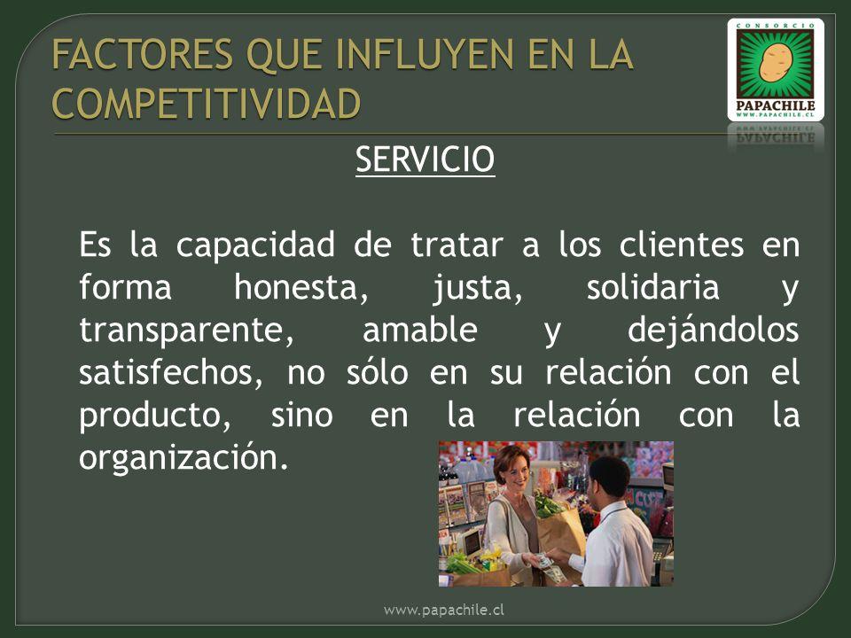 SERVICIO Es la capacidad de tratar a los clientes en forma honesta, justa, solidaria y transparente, amable y dejándolos satisfechos, no sólo en su relación con el producto, sino en la relación con la organización.
