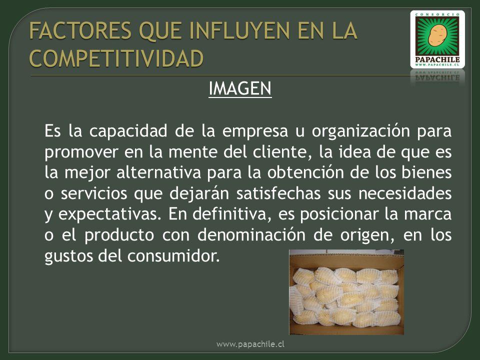 IMAGEN Es la capacidad de la empresa u organización para promover en la mente del cliente, la idea de que es la mejor alternativa para la obtención de los bienes o servicios que dejarán satisfechas sus necesidades y expectativas.