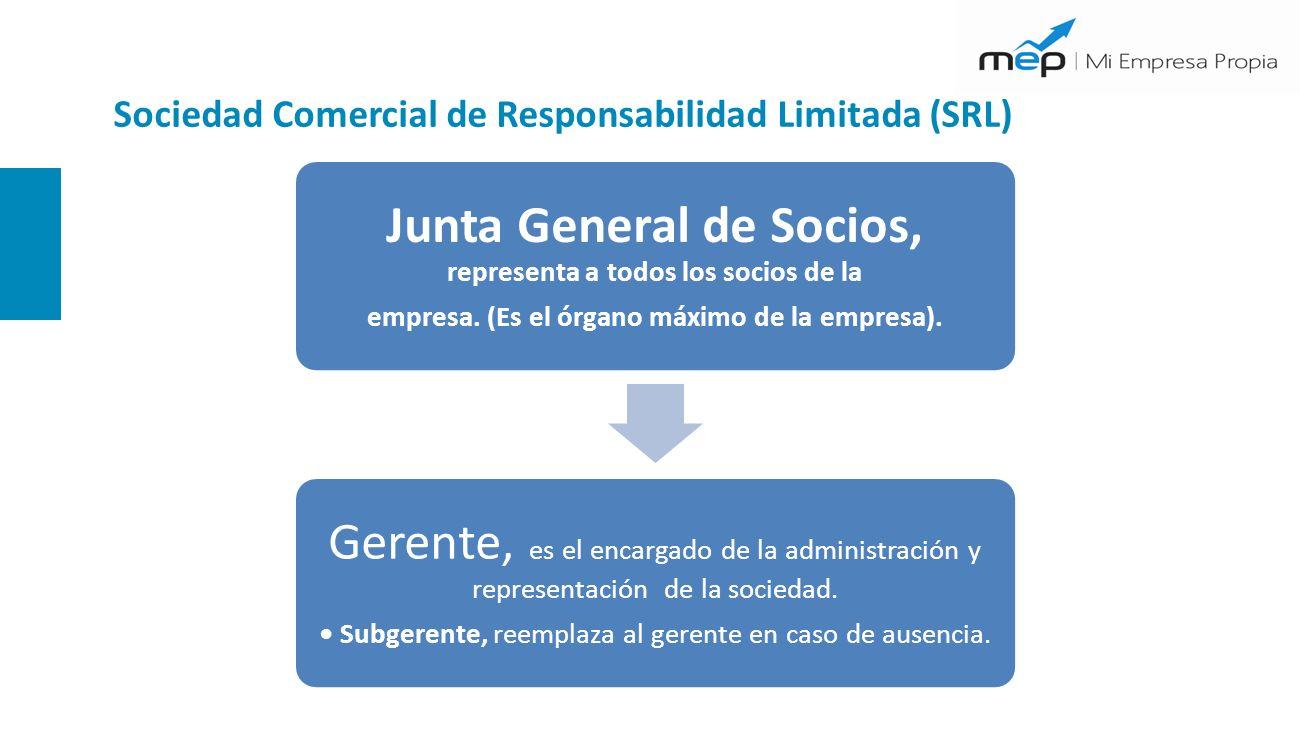 Sociedad Comercial de Responsabilidad Limitada (SRL) Junta General de Socios, representa a todos los socios de la empresa. (Es el órgano máximo de la