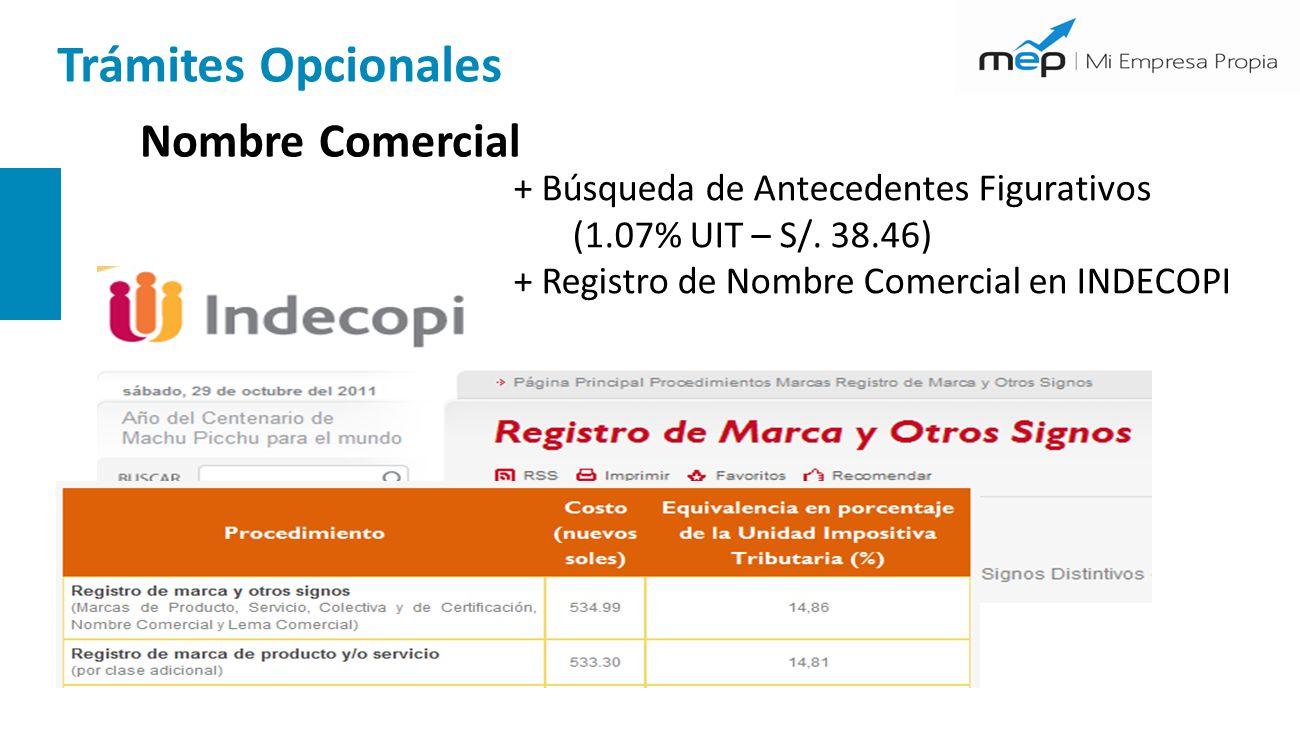 Nombre Comercial + Búsqueda de Antecedentes Figurativos (1.07% UIT – S/. 38.46) + Registro de Nombre Comercial en INDECOPI Trámites Opcionales