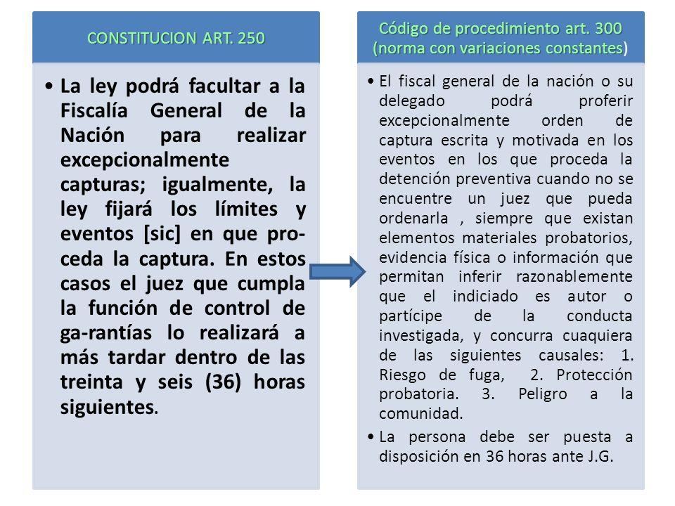 CONSTITUCION ART. 250 La ley podrá facultar a la Fiscalía General de la Nación para realizar excepcionalmente capturas; igualmente, la ley fijará los