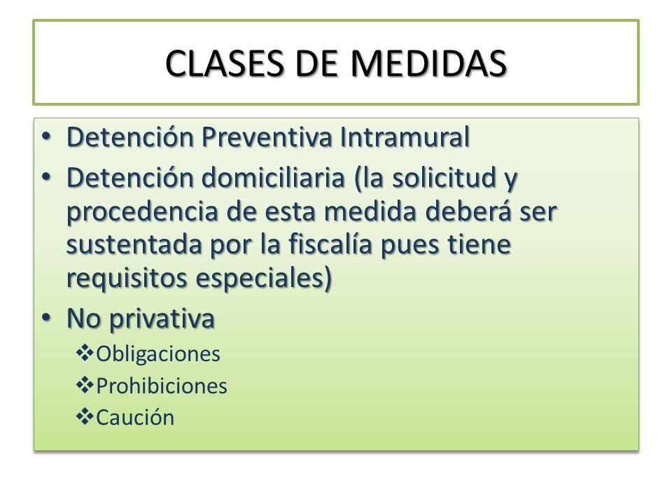CLASES DE MEDIDAS Detención Preventiva Intramural Detención Preventiva Intramural Detención domiciliaria (la solicitud y procedencia de esta medida de