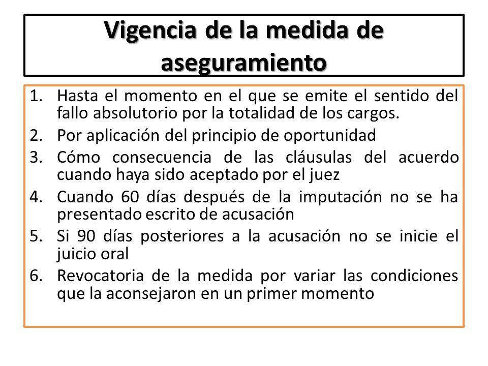 Vigencia de la medida de aseguramiento 1.Hasta el momento en el que se emite el sentido del fallo absolutorio por la totalidad de los cargos. 2.Por ap