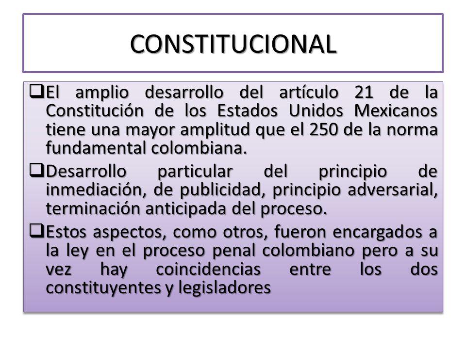 CONSTITUCIONAL El amplio desarrollo del artículo 21 de la Constitución de los Estados Unidos Mexicanos tiene una mayor amplitud que el 250 de la norma