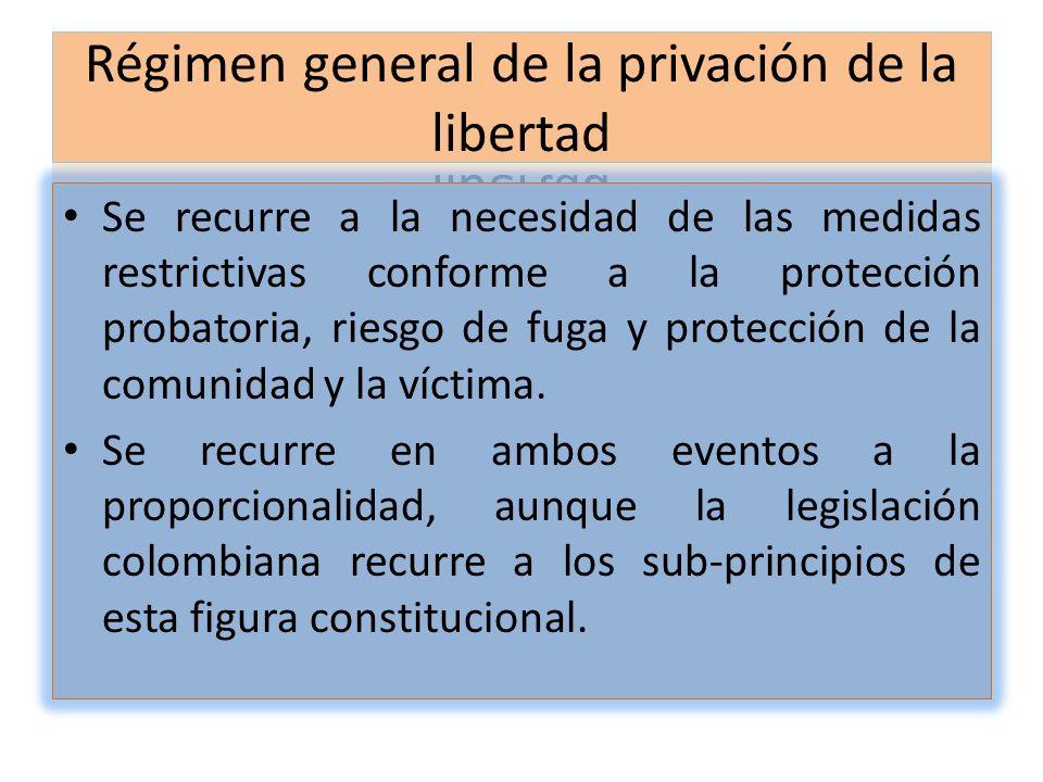 Se recurre a la necesidad de las medidas restrictivas conforme a la protección probatoria, riesgo de fuga y protección de la comunidad y la víctima. S