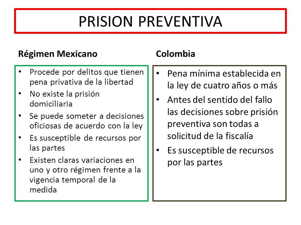 PRISION PREVENTIVA Régimen Mexicano Procede por delitos que tienen pena privativa de la libertad No existe la prisión domiciliaria Se puede someter a